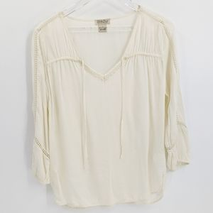 Lucky Brand Cream Cutwork Lace Rayon Peasant Top